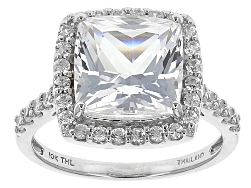 Photo of 4.50ct Square Cushion Danburite With .85ctw Round White Zircon 10k White Gold Ring - Size 11