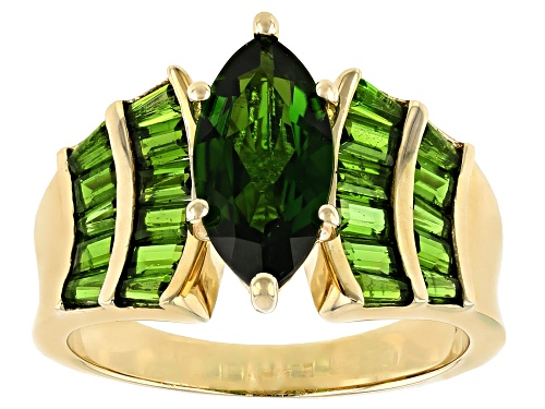 Photo of 2.63ctw Marquise, Tapered Baguette And Baguette Chrome Diopside 10k Yellow Gold Ring - Size 6