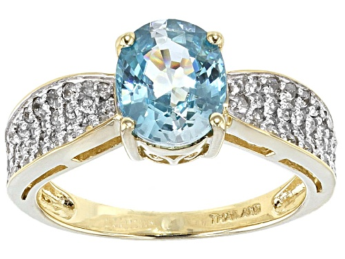 Photo of 2.34ct Oval Blue Zircon With .42ctw Round White Zircon 10k Yellow Gold Ring - Size 9