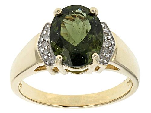 1.26ct Oval Moldavite With .04ctw Round White Diamond Accen'Ts 10k Yellow Gold Ring - Size 7