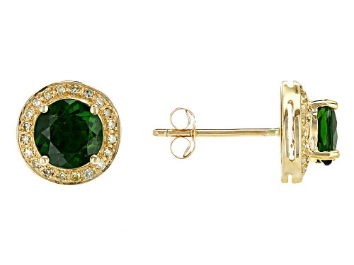 Photo of 1.47ctw Round Chrome Diopside With .11ctw Round Natural Yellow Diamond 10k Yellow Gold Earrings