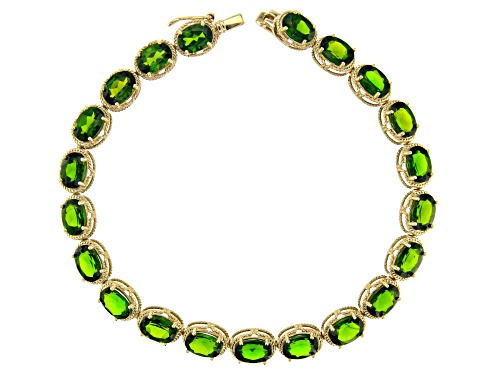 Photo of 16.28ctw Oval Russian Chrome Diopside 10k Yellow Gold Line Bracelet - Size 7.5