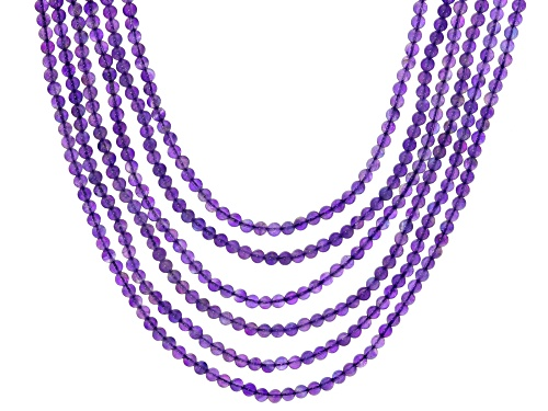 Photo of 4-5mm Round African Amethyst Sterling Silver 6-Row Beaded Necklace - Size 18