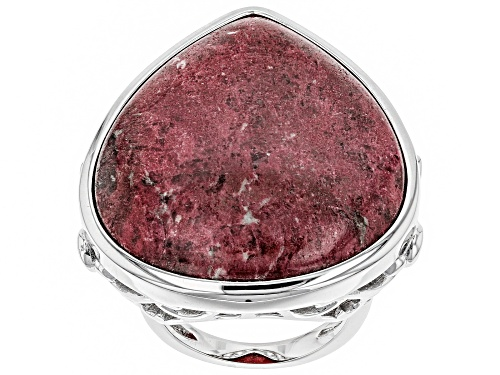 Photo of 34X27MM PEAR SHAPE THULITE SOLITAIRE RHODIUM OVER STERLING SILVER RING - Size 6