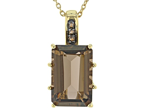 Photo of 11.29ctw rectangular octagonal smoky quartz 18k yellow gold over sterling silver pendant with chain