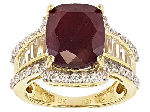 Photo of 7.14ct India ruby with 1.95ctw white zircon 18k yellow gold over sterling silver ring - Size 6