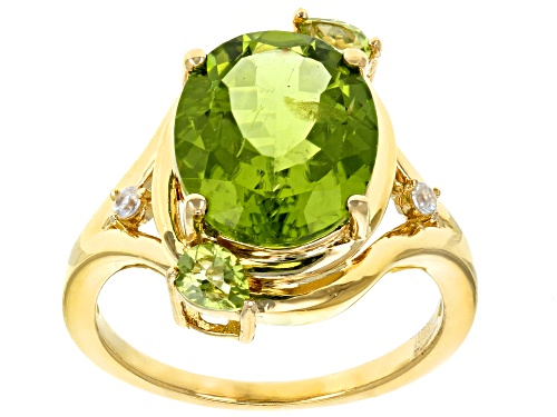 Photo of 4.63ctw Manchurian Peridot™ with .05ctw round white zircon 18k yellow gold over sterling silver ring - Size 7