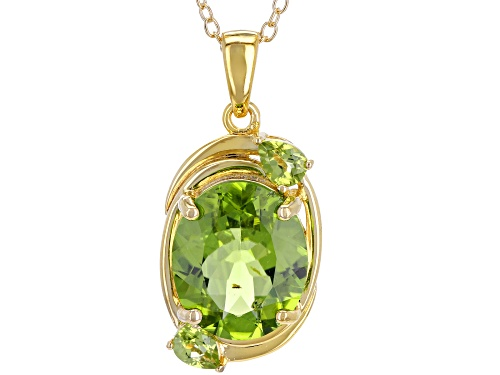 Photo of 4.63CTW OVAL & ROUND MANCHURIAN PERIDOT™ 18K GOLD OVER SILVER PENDANT W/CHAIN