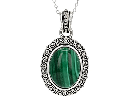 Photo of 16x12mm oval cabochon malachite sterling silver pendant with chain