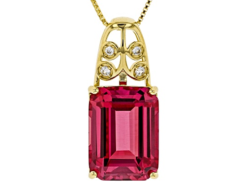 Photo of 13.20CT LAB CREATED PADPARADSCHA SAPPHIRE AND .08CTW ZIRCON 18K GOLD OVER SILVER PENDANT W/ CHAIN
