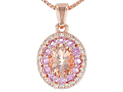 Photo of .93CT MORGANITE, .36CTW SAPPHIRE & .19CTW WHITE ZIRCON 18K ROSE GOLD OVER SILVER PENDANT WITH CHAIN