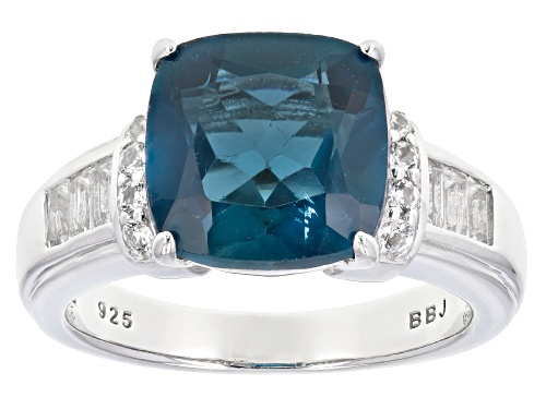 Photo of 5.00CT LONDON BLUE TOPAZ WITH .42CTW BAGUETTE & ROUND WHITE TOPAZ RHODIUM OVER STERLING SILVER RING - Size 10
