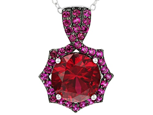 Photo of 3.31ct Round Lab Created Ruby, .55ctw Lab Created Sapphire Rhodium Over Silver Pendant w/ Chain
