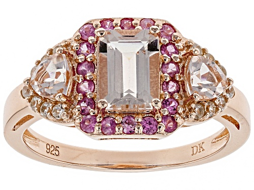 Photo of 1.08CTW MORGANITE, .27CTW PINK SAPPHIRE AND .17CTW WHITE ZIRCON 18K ROSE GOLD OVER SILVER RING - Size 8