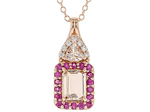 Photo of 1.24CTW MORGANITE, PINK SAPPHIRE AND WHITE ZIRCON 18K ROSE GOLD OVER SILVER PENDANT WITH CHAIN