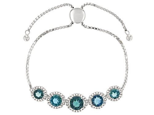 """Photo of 6.76ctw teal fluorite and .81ctw white zircon rhodium over silver bolo bracelet adjusts 6""""-9"""""""