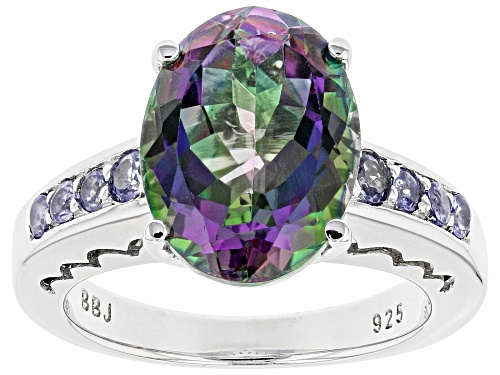 Photo of 6.24CT OVAL GREEN MYSTIC TOPAZ® & .30CTW ROUND TANZANITE RHODIUM OVER SILVER RING - Size 6
