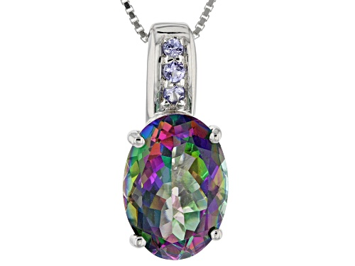 Photo of 6.24CT OVAL GREEN MYSTIC TOPAZ® & .11CTW ROUND TANZANITE RHODIUM OVER SILVER PENDANT WITH CHAIN