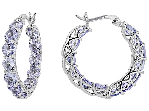 Photo of 5.20CTW ROUND TANZANITE RHODIUM OVER SILVER INSIDE/OUTSIDE HOOP EARRINGS