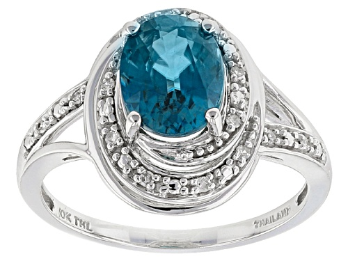 Photo of 2.50ct Oval Blue Zircon With .05ctw Round White Diamond Accents 10k White Gold Ring - Size 8