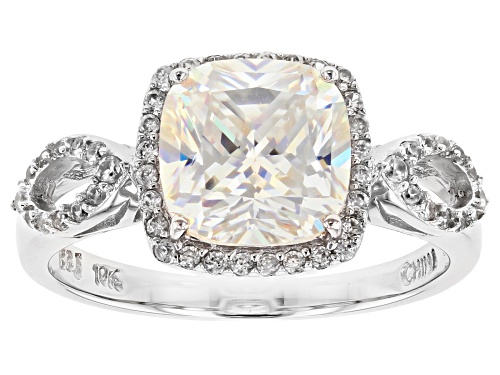 Photo of 3.01ct Fabulite Strontium Titanate And .32ctw Round White Zircon 10k White Gold Ring - Size 6