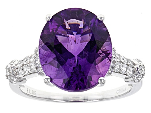Photo of 4.86ct Oval Moroccan Amethyst And .46ctw Round White Zircon 10k White Gold Ring - Size 7
