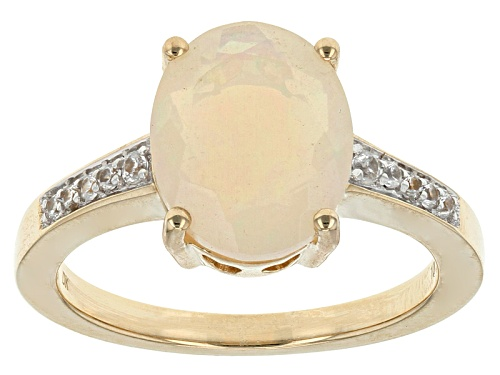 Photo of 1.70ct Oval ethtiopian Opal And .10ctw Round White Zircon 10k Yellow Gold Ring - Size 8