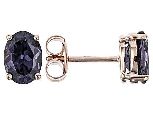 Photo of 1.2ctw Oval Purple Spinel Solitaire 10k Rose Gold Stud Earrings.