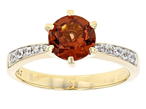 Photo of 1.45ct Round Malaya Garnet And .09ctw Round White Zircon 10k Yellow Gold Ring - Size 8