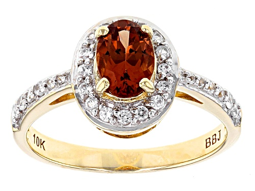 Photo of .88ct Oval Malaya Garnet And .23ctw Round White Zircon 10k Yellow Gold Ring - Size 9