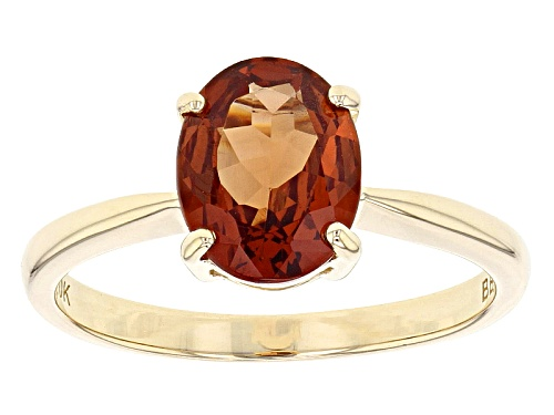 Photo of 1.87ct Oval Malaya Garnet Solitaire 10k Yellow Gold Ring - Size 7