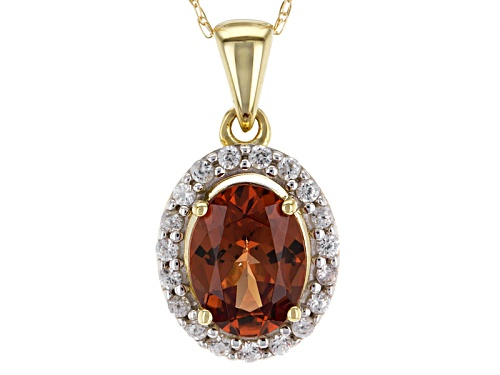 Photo of 1.28ct Oval Malaya Garnet And .14ctw Round White Zircon 10k Yellow Gold Pendant With Chain