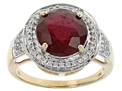 Photo of 4.00ct Round Mahaleo® Ruby With .30ctw Round White Zircon 10k Yellow Gold Ring - Size 6