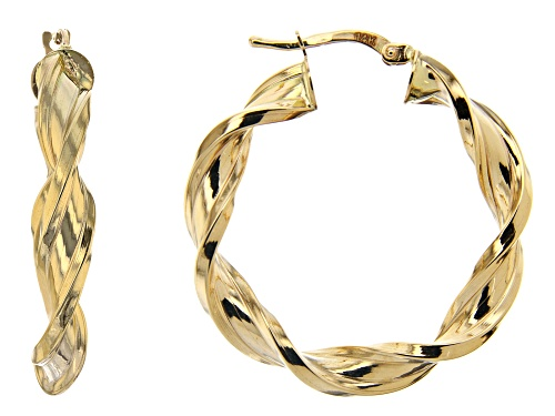 Photo of Splendido Oro™ 14K Yellow Gold High Polished Twisted Hoop Earrings