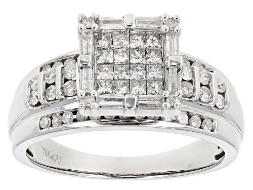 Photo of 1.00ctw Round, Baguette And Princess Cut White Diamond 10k White Gold Quad Ring - Size 9
