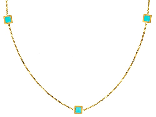 Photo of Splendido Oro™ 14k Yellow Gold Marquise Turquoise Simulant Bead Station 24 Inch Necklace - Size 24