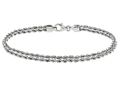 Photo of Splendido Oro™ Rhodium Over 14k Yellow Gold Heart Rope 8 Inch Bracelet - Size 8