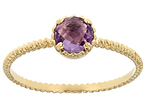 Photo of Splendido Oro™ 0.25 Ctw Amethyst 14k Yellow Gold Accent Solitaire Ring - Size 7