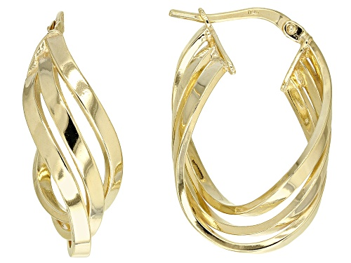 Photo of Splendido Oro™ Divino 14k Yellow Gold with Sterling Silver Core Three-Strand Tube Hoop Earrings