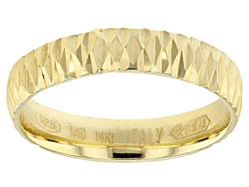Photo of Splendido Oro™ Divino 14k Yellow Gold With a Sterling Silver Core Diamond Cut Comfort Fit Band Ring - Size 7
