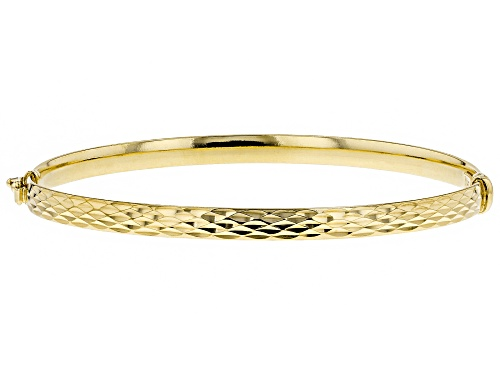 Photo of Splendido Oro™ Divino 14K Yellow Gold With Sterling Silver Core Diamond Cut Bangle Bracelet - Size 7.25