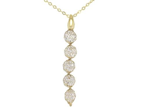 Photo of Splendido Oro™ Bella Luce ® Diamond Simulant 14K Yellow Gold Mesh Pendant With Rolo Chain 18 Inch - Size 18