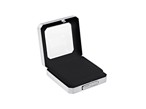 Gemstone Display Box Matte Silver Finish 55 X 55 X 17mm With Reversible Black And White Cushion
