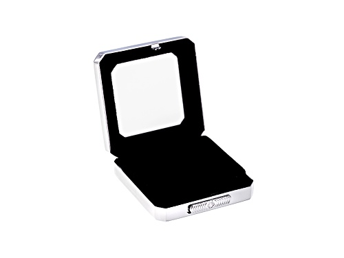Photo of Gemstone Display Box Polished Silver Finish 55 X 55 X 17mm With Reversible Black And White Cushion