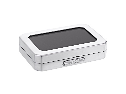 Photo of Gemstone Display Box Matte Silver Finish 80 X 55 X 17mm With Reversible Black And White Cushion
