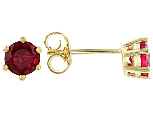 Photo of SCOTT'S HOLIDAY COLLECTION LAB CREATED RUBY 18K YELLOW GOLD OVER STERLING SILVER STUD EARRINGS