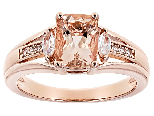 Photo of 1.13CT CUSHION MORGANITE WITH .33CTW WHITE ZIRCON 18K ROSE GOLD OVER STERLING SILVER RING - Size 7