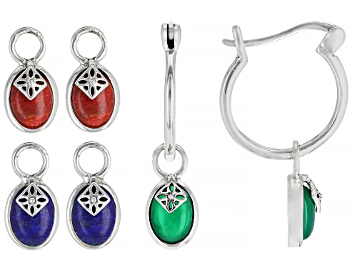 Photo of 7x5mm Oval Lapis Lazuli, Red Coral and Green Onyx Rhodium Over Silver Interchangeable Charm Earrings