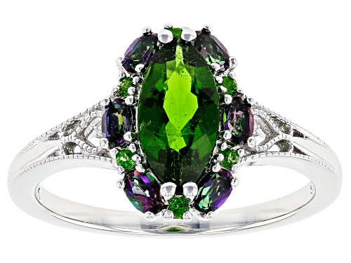 Photo of .99ctw Marquise & Round Chrome Diopside With .92ctw Mystic Fire(R) Topaz Rhodium Over Silver Ring - Size 9