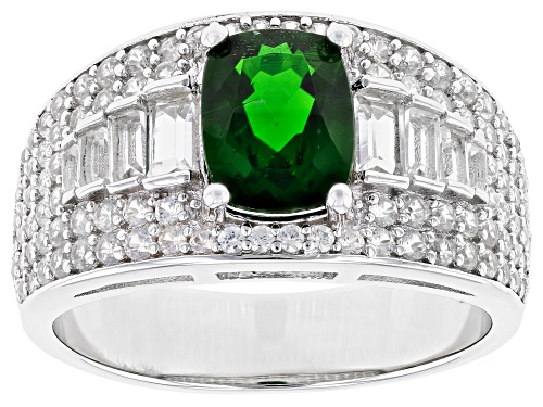 Photo of 1.28ct Rectangular Cushion Chrome Diopside, 1.52ctw Topaz & Zircon Rhodium Over Silver Ring - Size 8